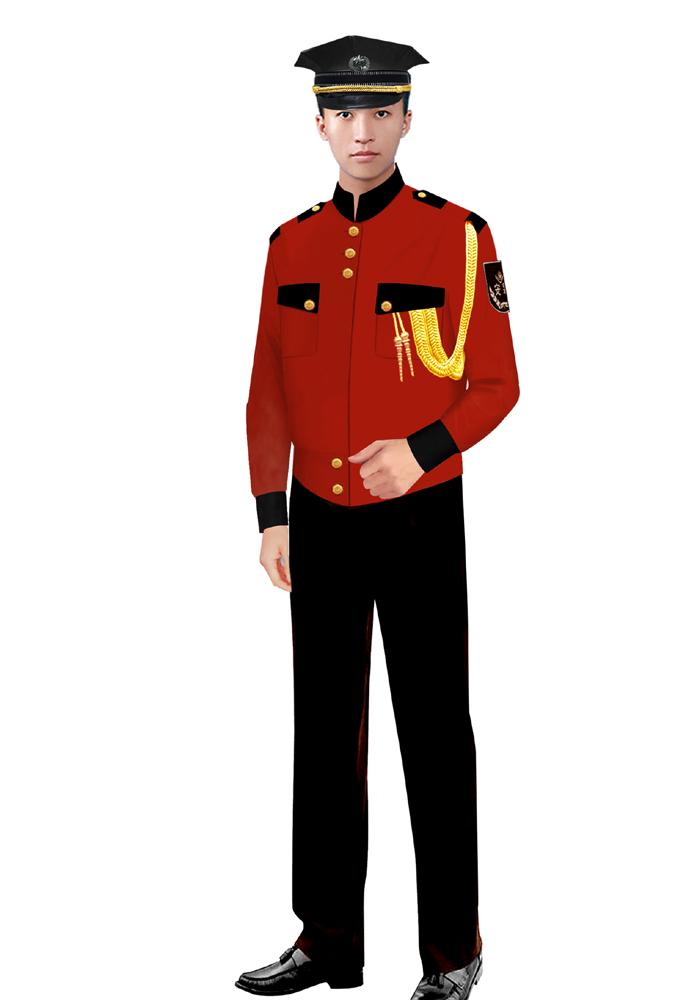 定做红色保安服